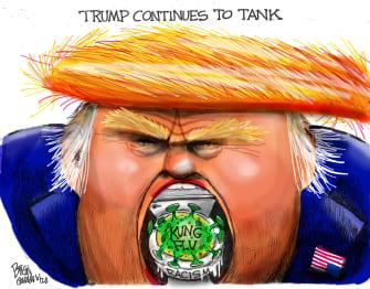 Political Cartoon U.S. Trump tank polls coronavirus