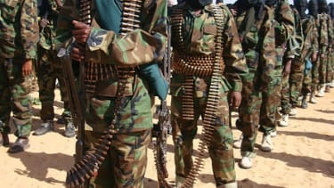 Somali Al-Shebab fighters gather on Feb. 13, 2012.