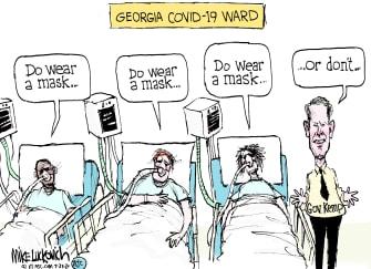 Political Cartoon U.S. coronavirus Georgia Brian Kemp masks