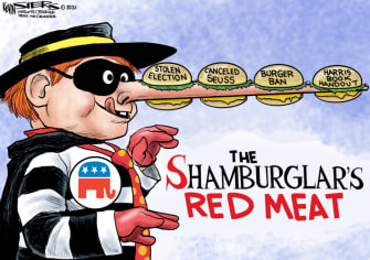 Political Cartoon U.S. fox news gop biden beef