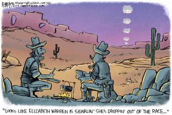Political Cartoon U.S. Elizabeth Warren Democrats 2020 primaries presidential race drop out smoke signals
