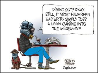 Editorial Cartoon U.S. dining out coronavirus