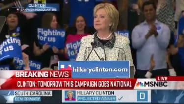 Hillary Clinton speaks in South Carolina.