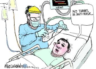 Editorial Cartoon U.S. coronavirus masks ventilator