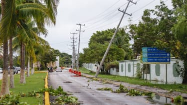 A downed power line in Cozumel.