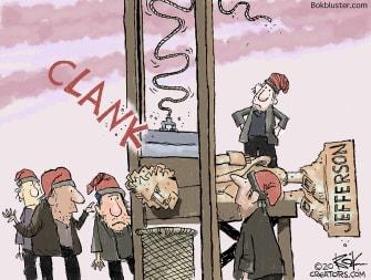 Editorial Cartoon U.S. statue demonstrators