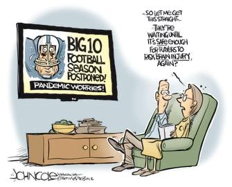 Editorial Cartoon U.S. CollegeFootball Coronavirus Cancelation Brain Injury CTE Concussions
