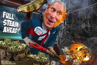 Political Cartoon U.S. Bloomberg steam ahead Nevada TV ads