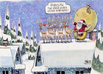 Editorial Cartoon U.S. Christmas COVID