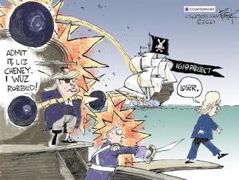 political cartoon liz cheney gop trump 1619 project