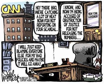 Political Cartoon U.S. andrew chris cuomo cnn covid nursing home deaths