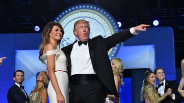 President Trump dances at the Freedom Ball.