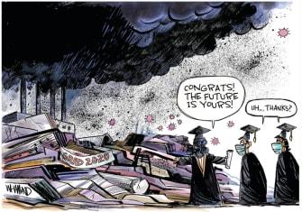 Editorial Cartoon U.S. graduates climate change coronavirus future