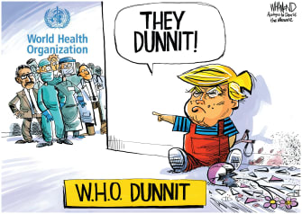 Political Cartoon U.S. Trump cuts WHO funding pandemic mismangement coronavirus