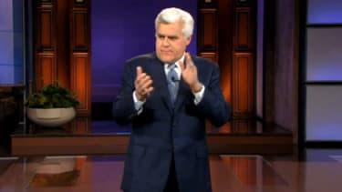 Jay Leno jokes about his replacement and his long-time network NBC.