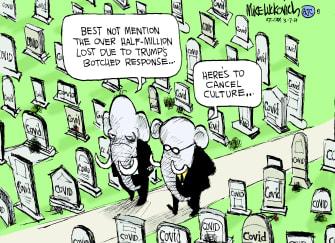 Political Cartoon U.S. gop trump covid response cancel culture