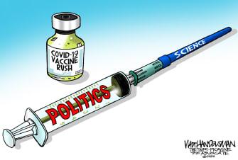 Editorial Cartoon U.S. COVID vaccine science politics