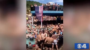 People crowd together at the Lake of the Ozarks.