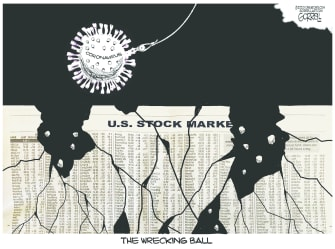 Editorial Cartoon U.S. coronavirus wrecking ball stock market cracking