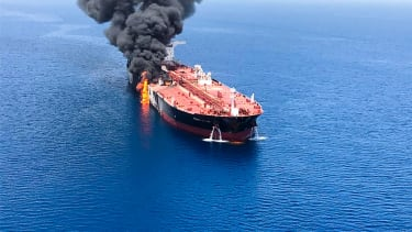 A Front Altair tanker said to have been attacked in the Gulf of Oman.