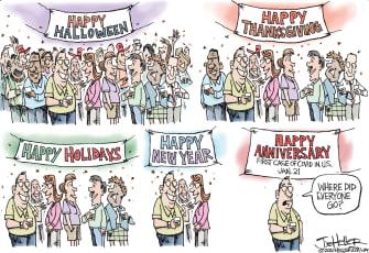 Editorial Cartoon U.S. COVID gatherings New Years Christmas
