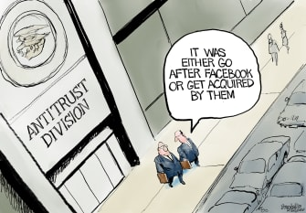 Editorial Cartoon U.S. Facebook antitrust