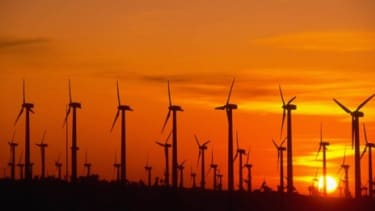 A California wind farm at sunset