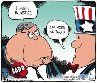 Political Cartoon U.S. William Barr In Justice One Word