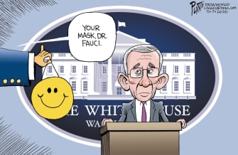 Political Cartoon U.S. Fauci Trump coronavirus mask