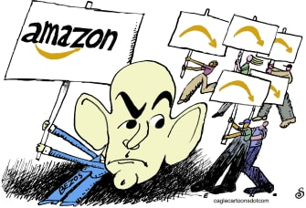 Editorial Cartoon U..S Jeff Bezos works protests hazard pay better conditions N95 masks