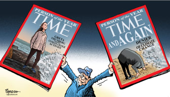 Political Cartoon U.S. Person of the Year Climate Change Activism And Denial