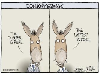 Political Cartoon U.S. Democrats Biden laptop Steele dossier