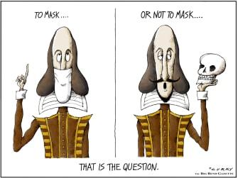 Editorial Cartoon U.S. shakespeare mask coronavirus