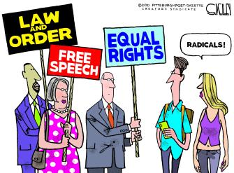 Editorial Cartoon U.S. left right rights radicals