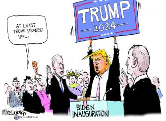 Political Cartoon U.S. Trump Biden inauguration