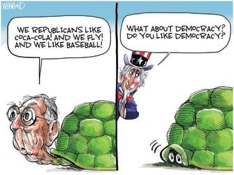 Political Cartoon U.S. mcconnell mlb georgia voting