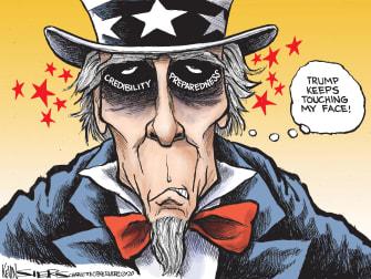 Political Cartoon U.S. Trump Uncle Sam Coronavirus face touching preparation credibility