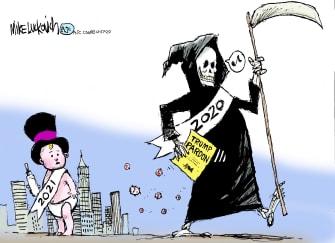 Political Cartoon U.S. Trump Pardon 2020 Grim Reaper 2021 New Year