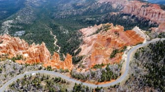 An aerial view of Bryce Canyon National Park.