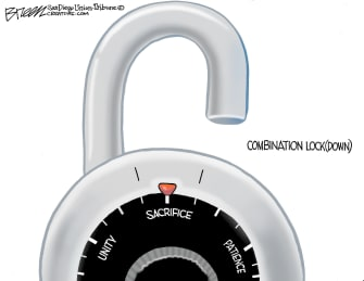 Editorial Cartoon U.S. coronavirus lockdown sacrifice