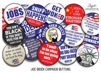 Political Cartoon U.S. Biden 2020 campaign buttons
