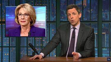 Seth Meyers cheers the troubles for Betsy DeVos