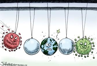 Editorial Cartoon World Coronavirus flu season Newton cradle