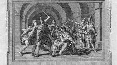 An engraving depicting the death of Julius Caesar.