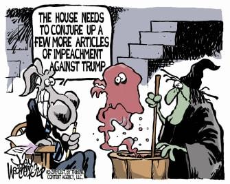 Political cartoons U.S. Democrats impeachment Trump