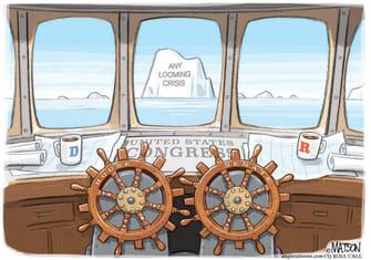 Political Cartoon U.S. Congressional gridlock