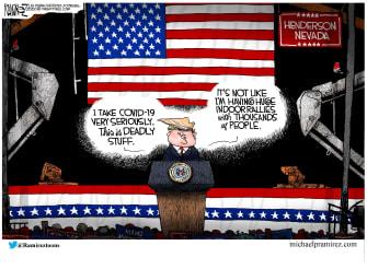 Political Cartoon U.S. Trump COVID indoor rallies