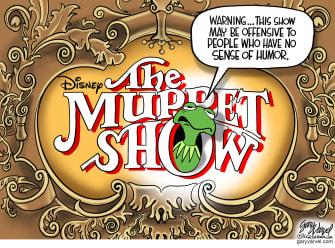 Editorial Cartoon U.S. muppet show warningdisney plus