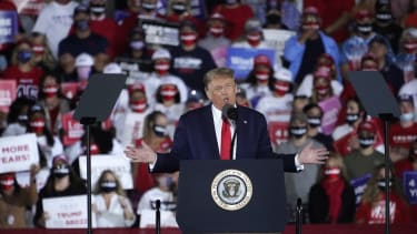 President Donald Trump speaks during a campaign rally at Middle Georgia Regional Airport, Friday, Oct. 16, 2020, in Macon, Ga.