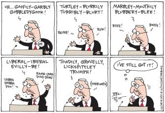 Political Cartoon U.S. Mitch McConnell Trump Impeachment Double Talk